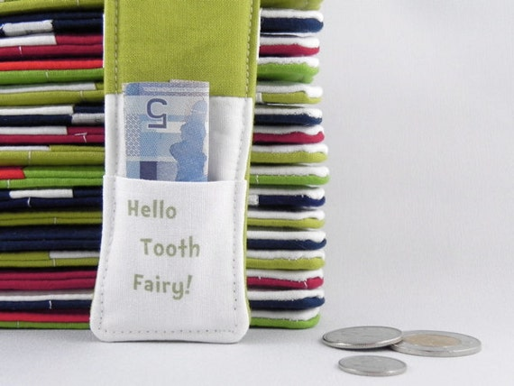 Tooth Fairy Pillow - Boy or Girl - Dr SEUSS Inspired - Stocking Stuffer - Birthday Party Favor - Birthday Gift - Hello Tooth Fairy GREEN