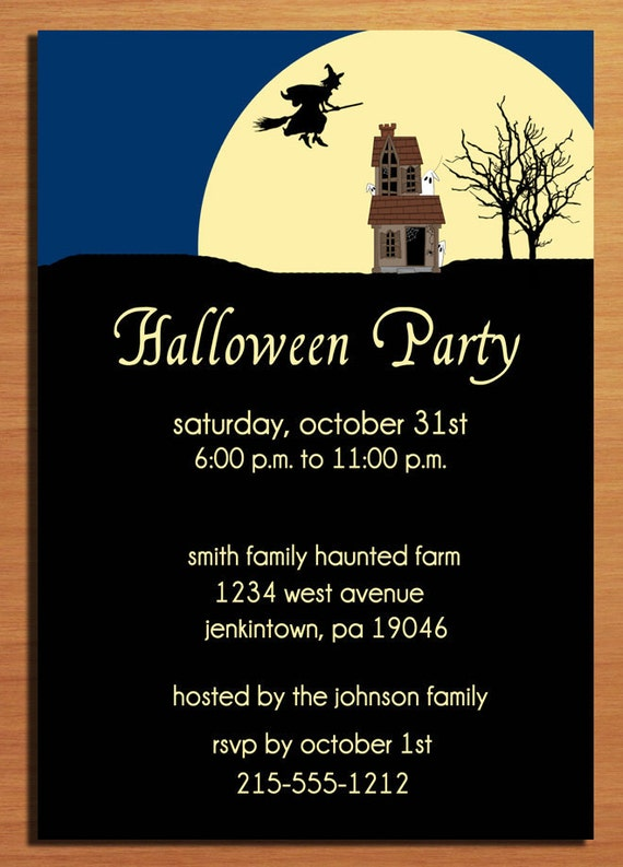 Customized Printable Halloween Party Witchy House Invitations /  DIY