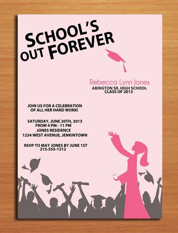 school u0026 39 s out hat toss graduation party invitation cards