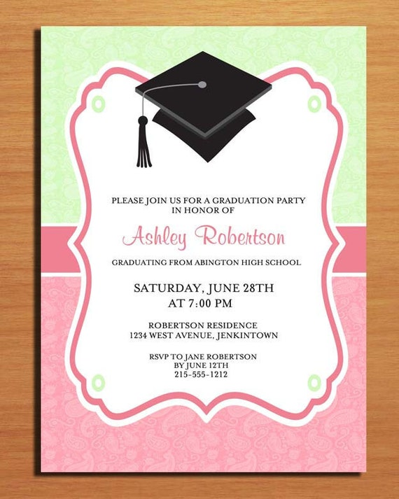 paisley graduation party invitation cards printable diy