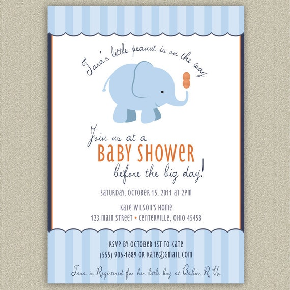 our little peanut elephant printable baby shower invitation with
