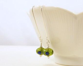 Olive Green Earrings, Green Bead Earrings, Long Sterling Silver Earrings Blue Green Earrings Navy Blue Polka Dot Earrings