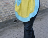 Retro yellow and aqua polkadot apron - romantic style with scalloped edge - cotton print