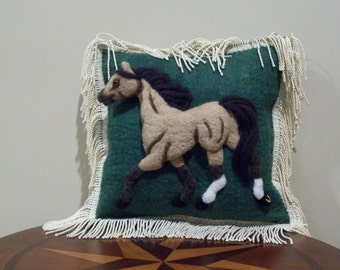 Needle Felted Horse Pillow