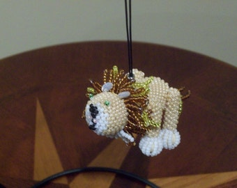 Zuni Style bead weaved Lion - Ornament