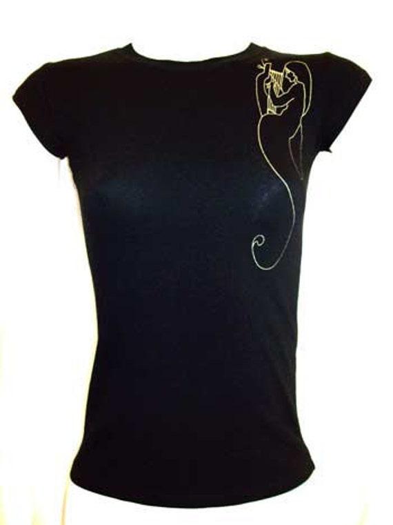 "Womens Top Black Shirt ""Angel & Harp"" Women's Top - Small, Medium, Large, XLarge, 2XL, 3XL Plus Size"