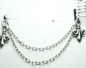 Beautiful 5 Band Sterling Silver Fleur De Lis Ear Cuff with Double Chain Fleur De Lis stud
