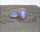 Purple Stud Earrings Oval Stud Post Sparkle Purple Stud Gold Post Earrings 18K Gold Earrings - Geekery Starlight Galatica Dust