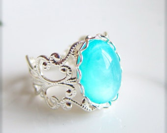 Blue Silver Ring Turquoise Blue Aqua Ring Seafoam Blue Ring Earth Day Water Summer Blue Sea Foam Blue Ring