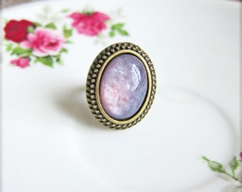 Purple Ring Faux Opal Ring Imitation Harlequin Opal Ring Statement Ring Adjustable Ring Gift