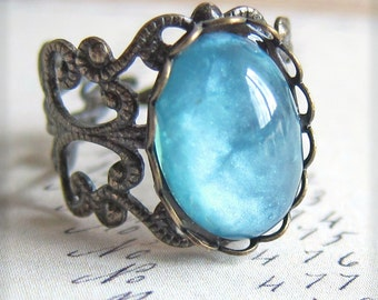 Aqua Blue Ring Vintage Filigree Ring Cameo Ring Antique Brass Cloudy Turquoise Blue Glow Ring Gift Friendship Ring Modern Rustic