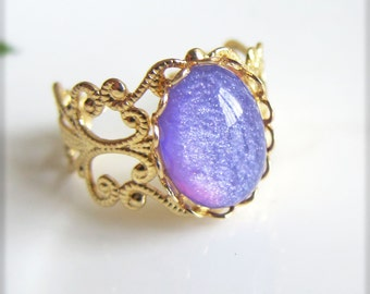 Purple Opal Ring Galaxy Ring Cameo Ring Nail Polish Shimmer Glitter Ring Oval Dome Ring Vintage Style Gold Filigree Ring - Lavender Moon