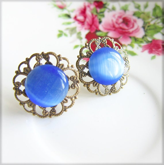 Blue Glass Earrings Filigree Vintage Style Antique Post Earrings - Sapphire Sass