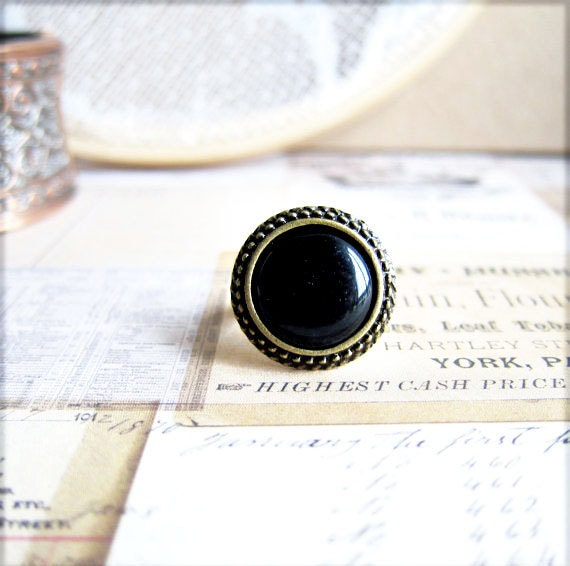 Onyx Black Ring Rustic Black Glass Cameo Ring Bohemian Exotic Antique Brass Vintage Inspired Ring