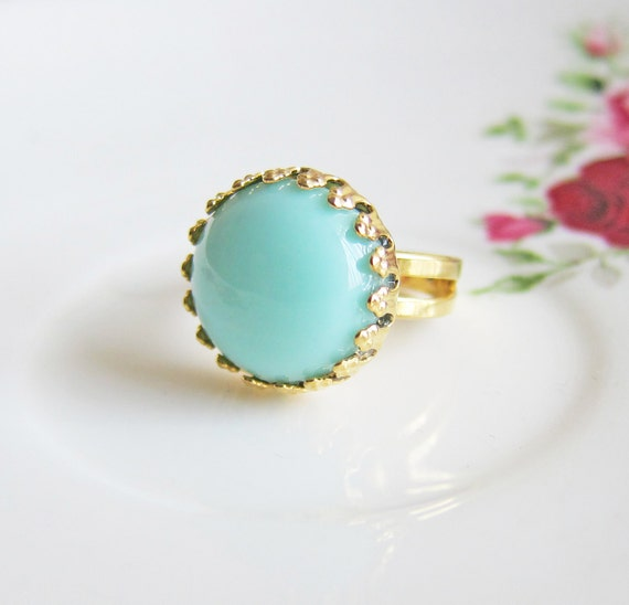 Mint Green Ring Mint Green Gold Ring 18K Gold Plated Ring Aqua Ring Blue Mint Ring Button Dome Ring - Bedazzling Carrie