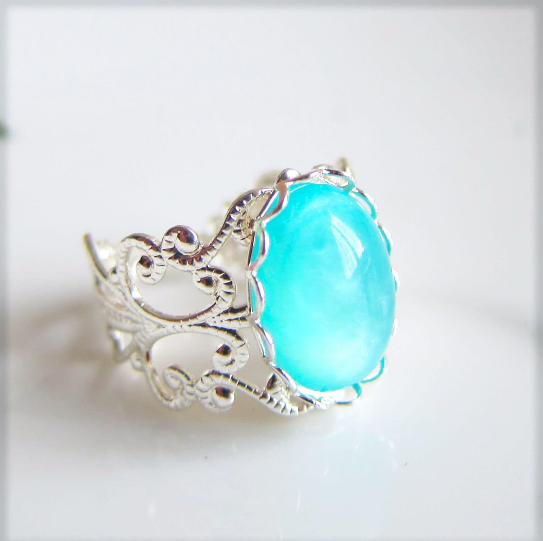 blue silver ring turquoise blue aqua ring seafoam blue ring