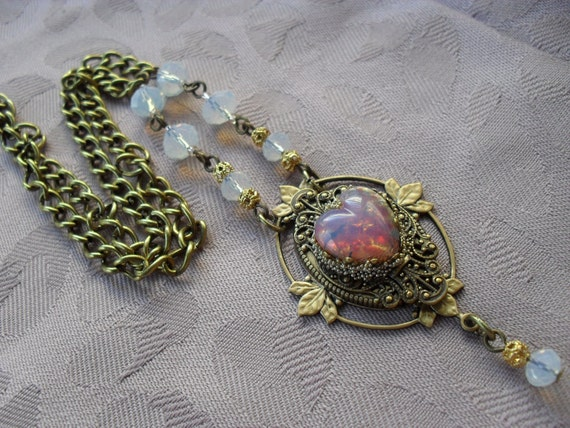 My Opal Heart Handmade Layered Brass and Glass Necklace and Earring Set