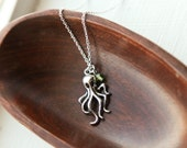 Octopus Necklace with Green Swarovski- 925 Sterling Silver Chain- Deep Ocean Nautical Charm Jewelry- Dark Silver Squid Necklace