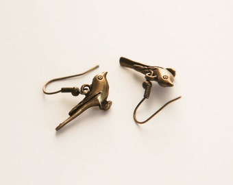 Tiny Bird Charm Earrings Vintage Style Bronze- Christmas- Easter- Valentines Day- Little Birdie- Cute