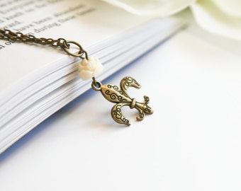Fleur de Lis Charm Necklace, Bronze with Cream- Custom Resin Flower Bead- You Choose - Unique Motif - Ready to Ship