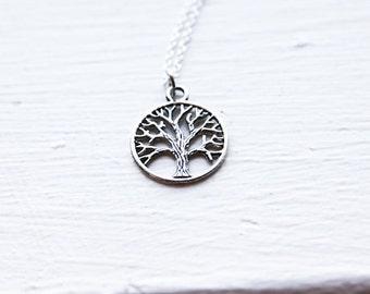 Tree of Life Necklace - Round Silver Charm - 925 Sterling Silver or Silver tone Chain - Family Tree - Round Circle Tree -  Love - Mom