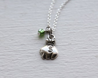 Lucky Money Bag Necklace- Cute St. Patricks Day Charm Jewelry- Green Swarovski Crystal Beads- End of the Rainbow