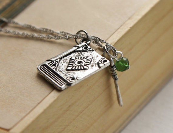 Fantasy Book & Sword Necklace- Unique Charm Necklace - Sterling or silver tone Chain - Green Emerald Swarovski Crystal - Gift Under 20