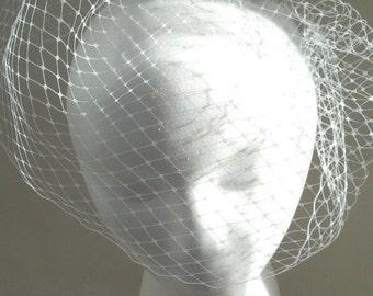 Wedding Veil, White French Veiling Birdcage Veil,  White Birdcage Veil, Vintage Wedding Hair Accessory, Ready to Ship, Marti & Co