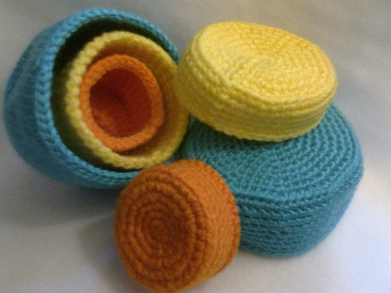 Three Nesting Baskets with Lids, Crocheted, Bright Colors