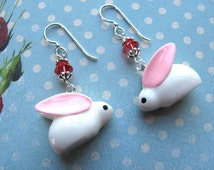 Bunny Earrings, Easter Earrings, Holiday Earrings, Swarovski Earrings, Pink Earrings, Rabbit Earrings, Bunny Jewelry, Easter Jewelry, Dangle