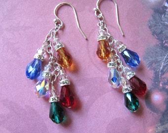 Christmas Lights Earrings, Holiday Earrings, Swarovski Earrings, Christmas Jewelry, Red Earrings, Green Earrings, Dangle Earrings