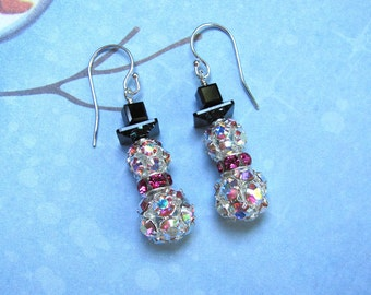 Rhinestone Snowman Earrings, Snowman Earrings, Christmas Earrings, Holiday Earrings, Snowman Jewelry, Christmas Jewelry, Pink Earrings