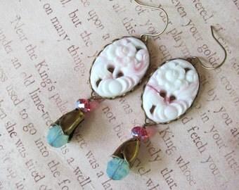 Pink Floral Earrings, Vintage Earrings, Pink Earrings, Flower Earrings, Swarovski Earrings, Turquoise Earrings, Flower Jewelry