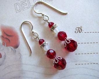 Mrs. Santa Claus Earrings, Holiday Earrings, Swarovski Earrings, Christmas Earrings, Red Earrings, Dangle Earrings, Mrs.Claus Earrings