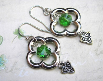 St Patricks Day Earrings, Green Earrings, Clover Earrings, Swarovski Earrings, Celtic Earrings, Irish Earrings, Holiday Earrings, Shamrock