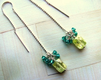 Lime Cubic Zirconia Earrings, Swarovski Earrings, Lime Green Earrings, Dangle Earrings, Blue Earrings, Green Earrings, Ball Chain Earrings