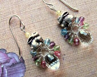 Easter Bunny Basket Earrings, Bunny Earrings, Easter Earrings, Swarovski Earrings, Holiday Earrings, Easter Jewelry, Bunny Jewelry, Dangle