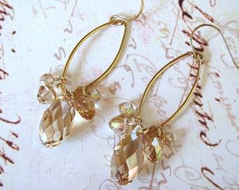 Gold Crystal Earrings - Swarovski Earrings, Teardrop Earrings, Bling Earrings, Statement Earrings, Dangle Earrings, Holiday Earrings