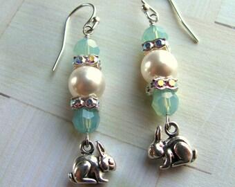 Sterling Bunny Earrings, Bunny Earrings, Easter Earrings, Holiday Earrings, Pearl Earrings, Easter Bunny Earrings, Bunny Jewelry, Dangle