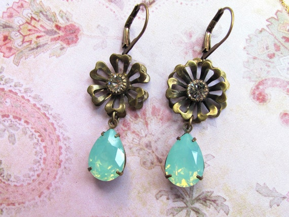 Turquoise Earrings, Swarovski Earrings, Rhinestone Earrings, Flower Earrings, Turquoise Jewelry, Statement Earrings, Dangle Earrings