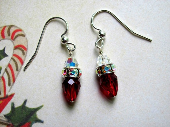 Christmas Lights Earrings, Holiday Earrings, Swarovski Earrings ...