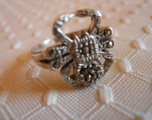 Sterling Silver Spider with Marcasites Ring