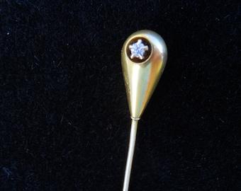 Antique Solid 14K Gold and Diamond Hallmarked Stickpin