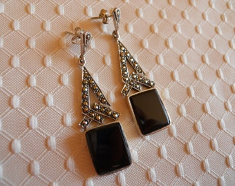 Sterling Silver and Onyx with Marcasite Earrings