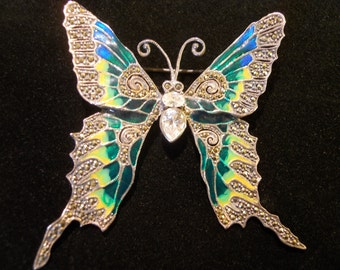 Sterling Silver  Enamel ButterflyPin  with White Topaz and Marcasites