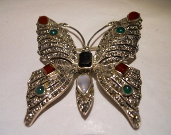 Beautiful Marcasite Butterfly with gemstones