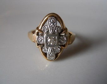 Estate 14k yellow gold Add A Diamond  Ring with One Diamond. Size 8