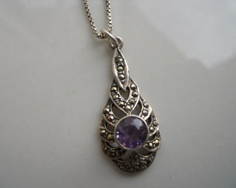 Sterling Silver Amethyst and Marcasite Pendant with Chain