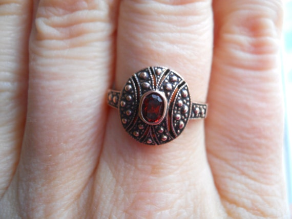 Rose Gold and Garnet Victorian Ring Size 7 1/4