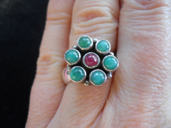 Emeralds and Ruby Cabachons Sterling Silver ring